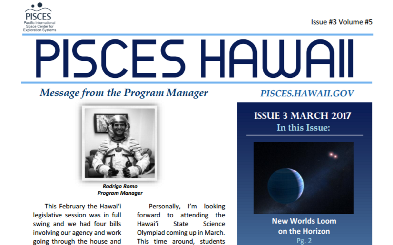 PISCES Hawaii March 2017 Newsletter